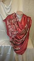 Палантин женский кашемир рыжего цвета с цветами