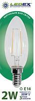 LED лампа 2W LEDEX свеча Filament E14