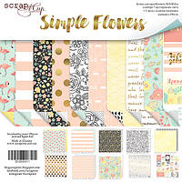 Набор двусторонней бумаги 30х30 см от Scrapmir Simple Flowers 10 шт