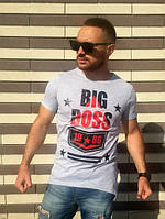 Футболка мужская BIG BOSS серая, мужские футболки