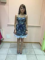 Платье женское вечернее на бретелях летнее коктельное выпускное синее гипюровое Rinascimento