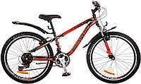 """Велосипед 24"""" Discovery FLINT AM 14G  Vbr  рама-13"""" St черно-оранжево-красный (м)  с крылом Pl 2017"""