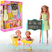 Кукла Defa Lucy 6065 Школьный учитель: 2 ученика + доска + парта + стул