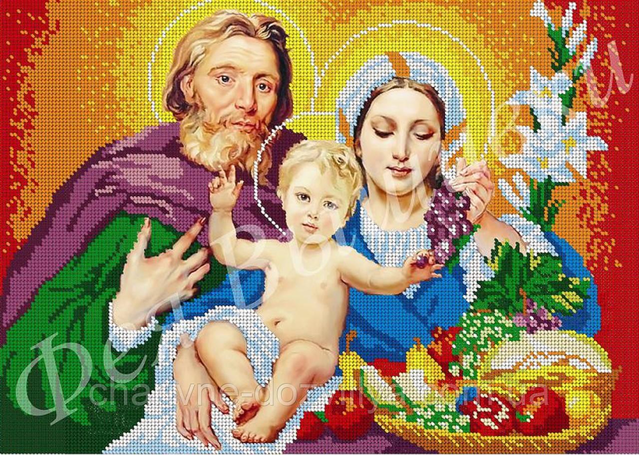 """Схема для вышивки бисером на габардине  икона """"Святое семейство""""(полная зашивка)"""