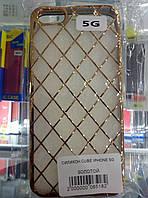 Чехол силикон Cube для Iphone 5/5s gold