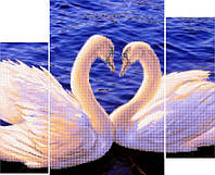 "Схема для вышивки бисером ""Триптих ""Лебеди"""""