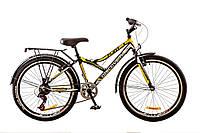 """Велосипед 24"""" Discovery FLINT  14G  Vbr  рама-14"""" St черно-бело-желтый с багажником зад St, с крылом St 2017"""