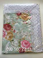 Скатерть Home Plus тканевая с кружевом (цветы) 120х150