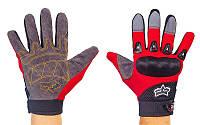 Мотоперчатки текстильные с закрытыми пальцами FOX BC-4642-R(L) (р-р L, черный-красный)