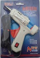 Пистолет клеевой маленький с кнопкой, под клей 7 мм, белый, фото 1