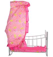 Кроватка на колесиках с балдахином, для кукол!  Melogo. 9349. розовые