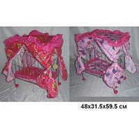 Кроватка на колесиках с балдахином, для кукол!  Melogo. 9350. розовые