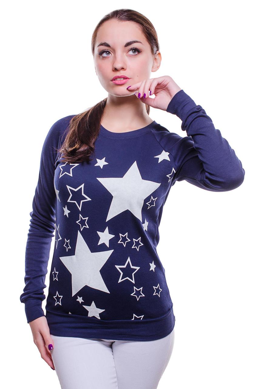 Женская толстовка с принтом звезды темно - синего цвета