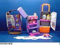 Кухня детская. 3 в 1. Раковина+печка+холодильник+чемоданчик на колесиках. 9911