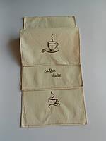 Льняные полотенца с кофейными чашками