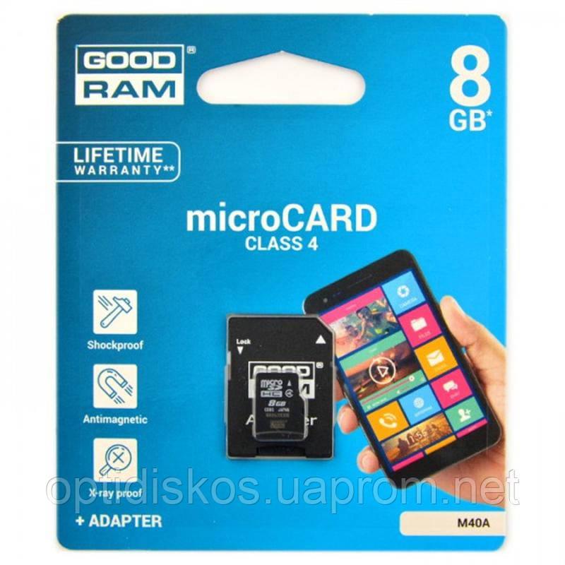 Карта памяти GoodRAM Micro SDHC 8GB class 4 + SD адаптер