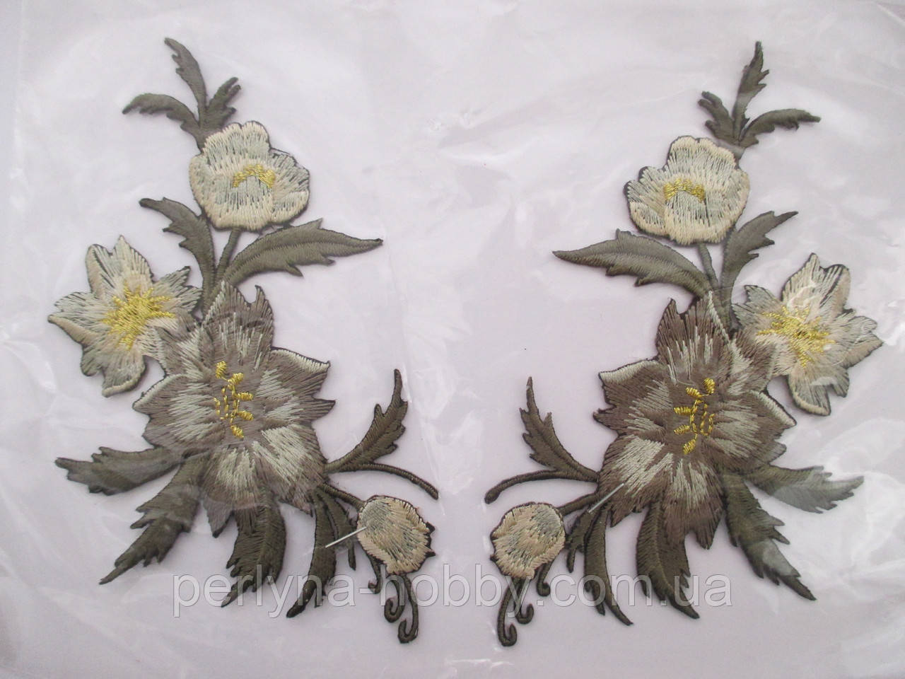 """Аплікація вишивка клейова парна """"Квіти"""" темне хакі з люрексом, 12 см 1пара, термоаппликации"""