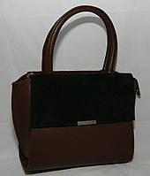 Коричневая женская каркасная сумка Voila (Wallaby), комбинированная замша