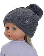 Детская теплая вязаная шапочка для девочки ACHTI Польша