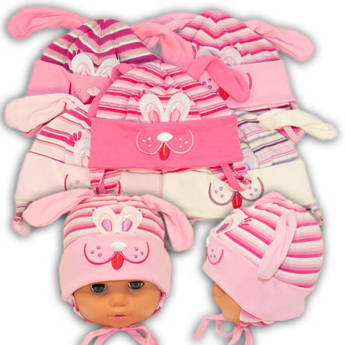 Детские шапки из трикотажа с ушками на завязках, 387