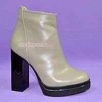 Демисезонные женские классические ботинки на высоком каблуке, из натуральной кожи, цвет визон