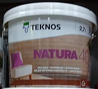 Лак NATURA 40 TEKNOS для мебели полумат, 9л. Доставка НП бесплатно!