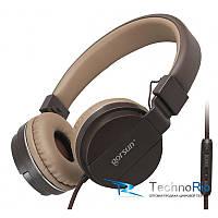 Наушники с микрофоном GORSUN GS-779 коричневые (кофейные)