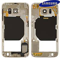 Средняя часть корпуса для Samsung G920FD Galaxy S6 Duos, оригинал (золотистая)