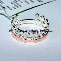 Кольцо Корона серебро с золотом, фото 1