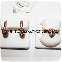 Комплект серебряный с позолотой Два Сердца