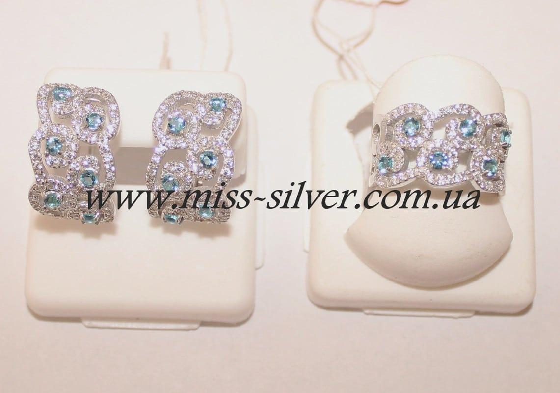 Комплект украшений с белыми и голубыми камнями Айсберг