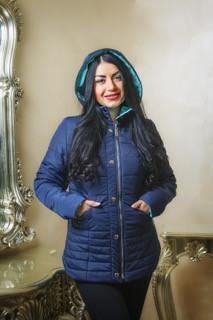 Демисезонная темно-синяя куртка 44-58 размер