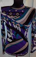Водолазка - кофта сеточкой с цветным рисунком  с длинными рукавами