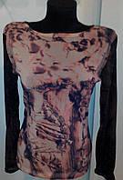 Водолазка - гольф коричневая сеточкой  с длинными рукавами