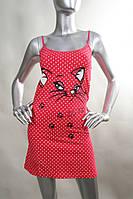 Яркая красная ночная сорочка на тонких бретелях с котиком