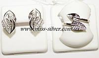 Комплект серебряный с белыми фианитами Лепесток