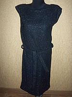 Вязанное черное женское платье с поясом