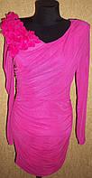 Розовое нарядное женское платье с цветами