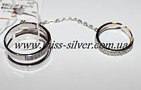 Фаланговое кольцо с цепочкой и белыми цирконами Фантази