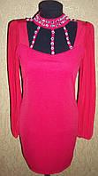 Красное красивое женское платье со стразиками с длинным рукавом
