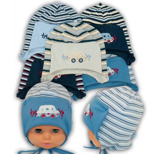 Детские шапки из трикотажа на завязках, 420