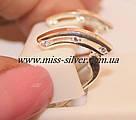 Серьги серебро с золотом Елена, фото 2