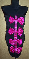 Вечернее черное женское платье с бантиками