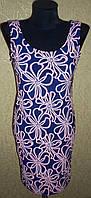 Оригинальное красивое женское синее платье с цветами