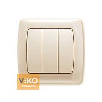 Выключатель 3-кл.крем ViKO Carmen