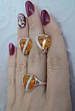 Серебряный комплект с накладками золота и янтарем, фото 5