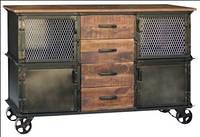 Комод IRON & W/N 4-DRAWER 2-DOOR SIBDEOARD. Цвет чёрный и натуральное дерево. Комод в стиле Лофт. Ручная работ
