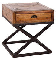 """Столик W/N & IRON 1-DRAWER """"X"""" DESIGN SIDE TABLE . Цвет чёрный и натуральное дерево. Столик в стиле Лофт. Ручная работа. Сделано в Индии."""
