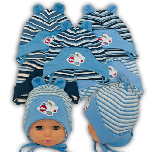 Детские шапки из трикотажа на завязках, 432