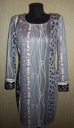 Симпатичное женское трикотажное платье с рисунком